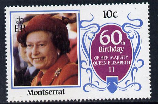 Montserrat 1986 Queen's 60th Birthday 10c unmounted mint with blue-grey background omitted (unlisted by SG & UH)