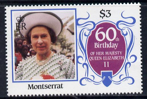 Montserrat 1986 Queen's 60th Birthday $3 unmounted mint with blue-grey background omitted (unlisted by SG & UH)