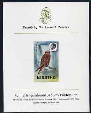 Lesotho 1981 Kestrel 1s imperf proof mounted on Format International proof card (as SG 437)