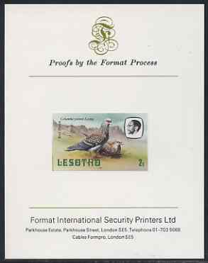Lesotho 1981 Rock Pigeon 2s imperf proof mounted on Format International proof card (as SG 438)
