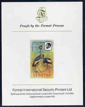 Lesotho 1981 Crowned Crane 3s imperf proof mounted on Format International proof card (as SG 439)