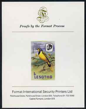 Lesotho 1981 Shrike 5s imperf proof mounted on Format International proof card (as SG 440)