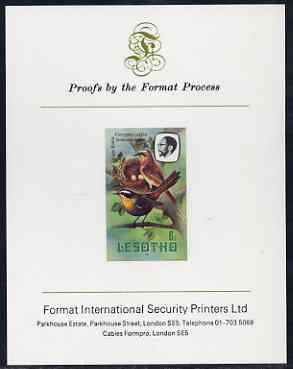 Lesotho 1981 Cape Robin Chat 6s imperf proof mounted on Format International proof card (as SG 441)