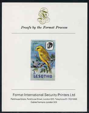 Lesotho 1981 Yellow Canary 7s imperf proof mounted on Format International proof card (as SG 442), stamps on lesotho, stamps on birds, stamps on canary, stamps on