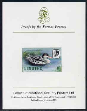 Lesotho 1981 Red Billed Teal 10s imperf proof mounted on Format International proof card (as SG 443)