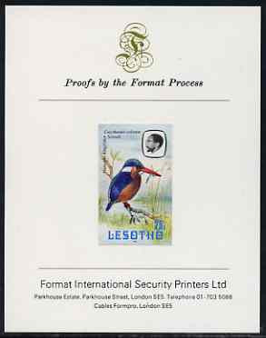 Lesotho 1981 Malachite Kingfisher 25s imperf proof mounted on Format International proof card (as SG 444)