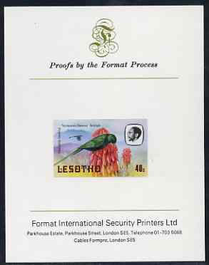 Lesotho 1981 Malachite Sunbird 40s imperf proof mounted on Format International proof card (as SG 445)