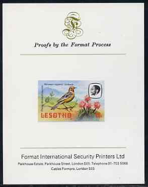 Lesotho 1981 Cape Longclaw 60s imperf proof mounted on Format International proof card (as SG 446)