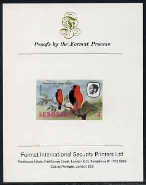 Lesotho 1981 Red Bishop M1 imperf proof mounted on Format International proof card (as SG 448)