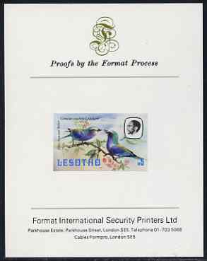 Lesotho 1981 Lilac Breasted Roller M5 imperf proof mounted on Format International proof card (as SG 450), stamps on lesotho, stamps on birds, stamps on roller