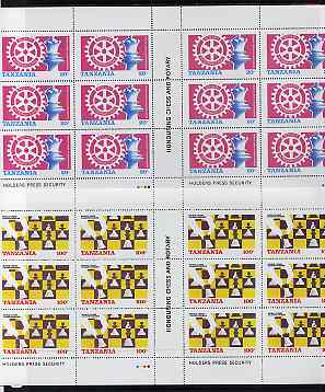 Tanzania 1986 World Chess/Rotary perf set of 2 in complete sheets of 12 (2 panes of 6) SG 461-2 unmounted mint