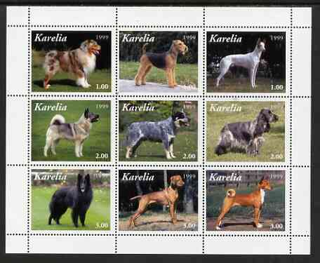 Karelia Republic 1999 Dogs perf sheetlet containing complete set of 9 values, unmounted mint