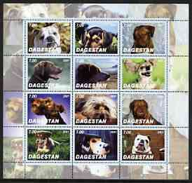 Dagestan Republic 2001 Dogs #02 perf sheetlet containing complete set of 12 values, unmounted mint