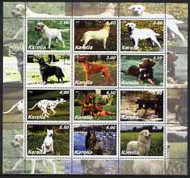 Karelia Republic 2002 Dogs perf sheetlet containing complete set of 12 values, unmounted mint