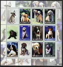 Karelia Republic 2001 Dogs #1 perf sheetlet containing complete set of 12 values, unmounted mint