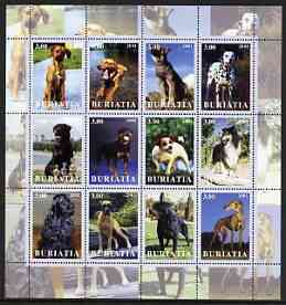 Buriatia Republic 2001 Dogs #1 (various breeds) perf sheetlet containing complete set of 12 values, unmounted mint