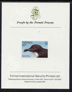Tuvalu 1988 Phoenix Petrel 20c imperf proof mounted on Format International proof card