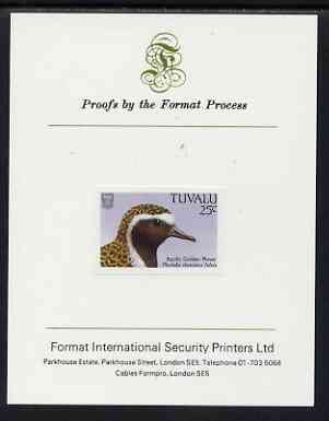 Tuvalu 1988 American Golden Plover 25c imperf proof mounted on Format International proof card