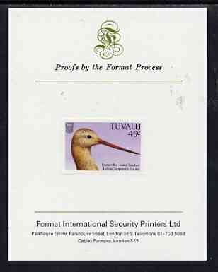 Tuvalu 1988 Bar-Tailed Godwit 45c imperf proof mounted on Format International proof card