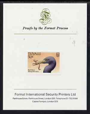 Tuvalu 1988 Eastern Reef Heron 50c imperf proof mounted on Format International proof card