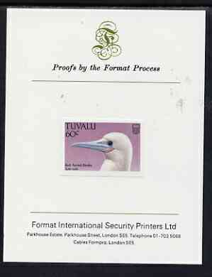 Tuvalu 1988 Red-Footed Booby 60c imperf proof mounted on Format International proof card