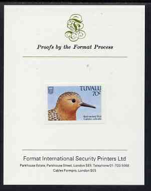 Tuvalu 1988 Sandpiper (Stint) 70c imperf proof mounted on Format International proof card