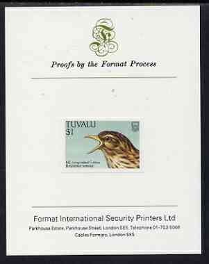 Tuvalu 1988 Long-Tailed Cuckoo $1 imperf proof mounted on Format International proof card