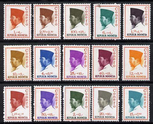 Indonesia 1965 'Conefo' Pres Sukarno Def set 15 values complete unmounted mint, SG 1035-49*