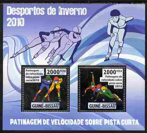 Guinea - Bissau 2010 Winter Olympic Sports - Speed Skating (Short Runway) perf sheetlet containing 2 values in silver unmounted mint
