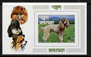 Bhutan 1973 Dogs Air imperf m/s unmounted mint Mi Bl 56B, stamps on dogs, stamps on poodle