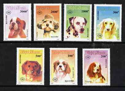 Vietnam 1990 set of 7 dogs inscribed with 'New Zealand 90' International Stamp Exhibition logo, unmounted mint SG1453-59, stamps on dogs, stamps on dalmatian, stamps on boxer, stamps on spaniel, stamps on stamp exhibitions
