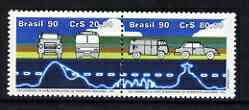 Brazil 1990 22nd World Congress of International Road Transport Union se-tentant pair unmounted mint SG 2428-29