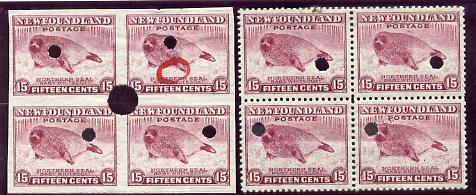 Newfoundland 1941-44 KG6 Seal 15c in perf & imperf matched proof blocks of 4 from archives with checker