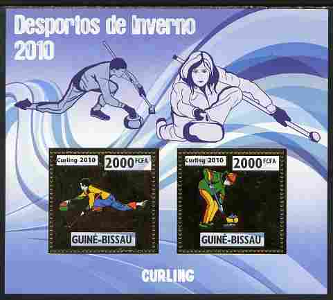Guinea - Bissau 2010 Winter Olympic Sports - Curling perf sheetlet containing 2 values in gold unmounted mint