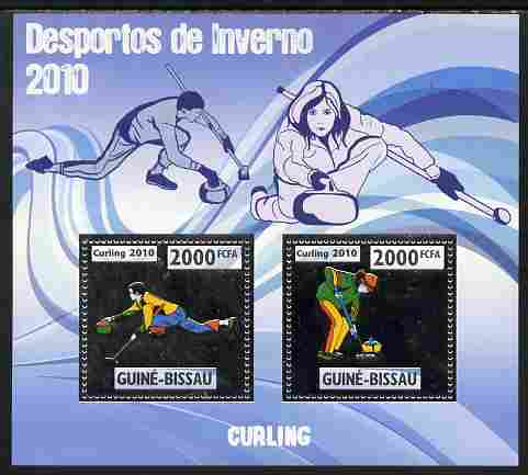 Guinea - Bissau 2010 Winter Olympic Sports - Curling perf sheetlet containing 2 values in silver unmounted mint