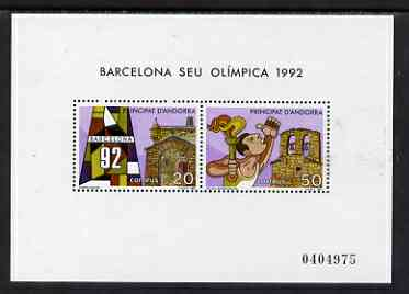 Andorra - Spanish 1987 Olympic Games Barcelona m/s unmounted mint SG MS 194