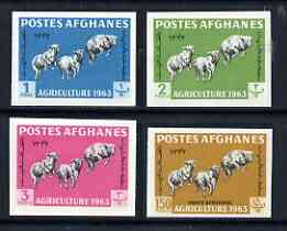 Afghanistan 1963 Agricultural Day the 4 values depicting sheep (1p, 2p, 3p & 150p) IMPERF, unmounted mint