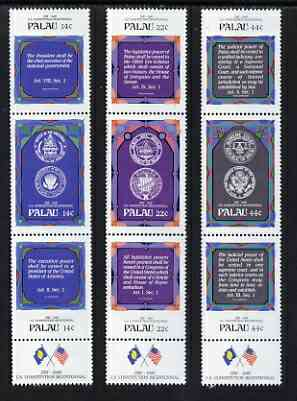 Palau 1987 Bicent of USA Constitution set of 9 in 3 x vertical se-tenant strip of 3, unmounted mint SG 199-207