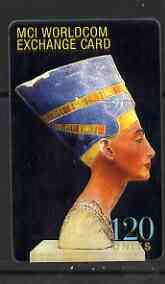 Telephone Card - Egypt 120 units phone card showing Queen Nefertiti (MCI Worldcom), stamps on statues, stamps on egyptology, stamps on women