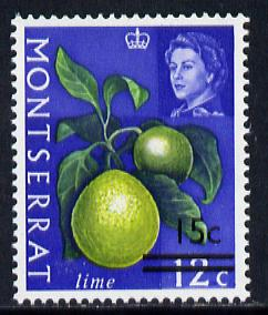 Montserrat 1968 Surcharged 15c on 12c lime (wmk upright) unmounted mint, SG 194*