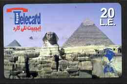 Telephone Card - Egypt �E20 phone card showing the Sphinx & Pyramids (horizontal)