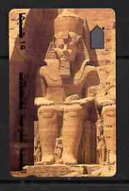 Telephone Card - Egypt phone card showing the Temple at Abu Simbel (Ramses II Colossus)