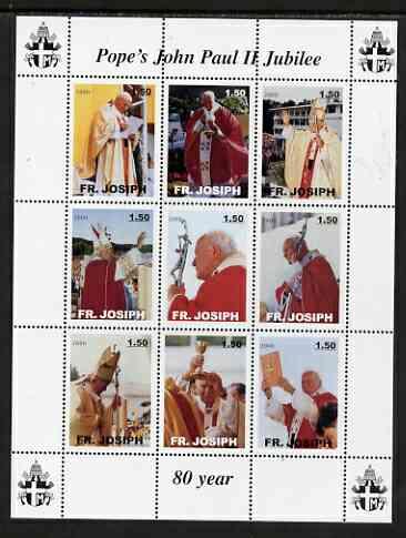 Fr Josiph Earth 2000 Pope John Paul II Jubilee perf sheetlet containing 9 values unmounted mint