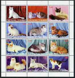 Chuvashia Republic 2000 Domestic Cats perf sheetlet containing 12 values unmounted mint