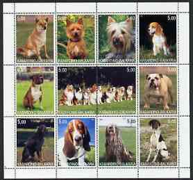 Kabardino-Balkaria Republic 2000 Dogs perf sheetlet containing 12 values unmounted mint