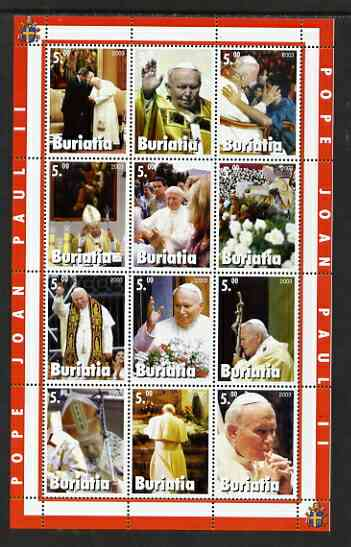Buriatia Republic 2003 Pope John Paul II perf sheetlet #02 containing complete set of 12 values (inscribed Pope Joan Paul II) unmounted mint