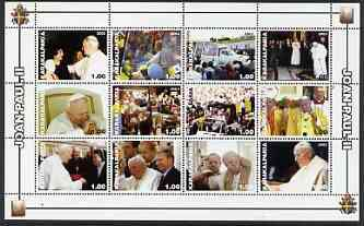 Karakalpakia Republic 2003 Pope John Paul II perf sheetlet #01 containing complete set of 12 values (inscribed Pope Joan Paul II) unmounted mint