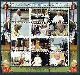 Karelia Republic 2002 Pope John Paul II perf sheetlet #02 containing complete set of 12 values (inscribed Pope Joan Paul II) unmounted mint