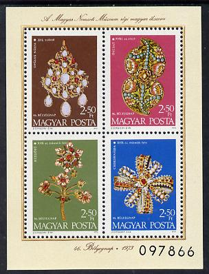 Hungary 1973 Jewelled Treasures unmounted mint miniature sheet SG MS 2834