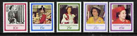 Tristan da Cunha 1986 Queen's 60th Birthday perf set of 5 unmounted mint, SG 406-410*